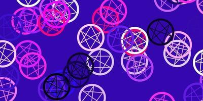 Telón de fondo de vector violeta, rosa claro con símbolos misteriosos.