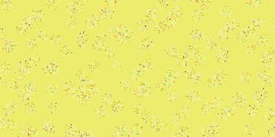 patrón de doodle de vector verde claro, amarillo con flores.