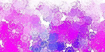 textura de vector rosa claro, azul con copos de nieve brillantes