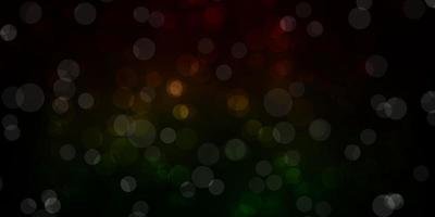 Dark Green, Red vector background with circles.
