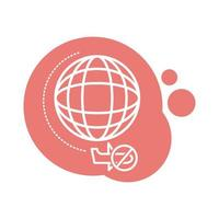 planet with denied flights block style icon vector