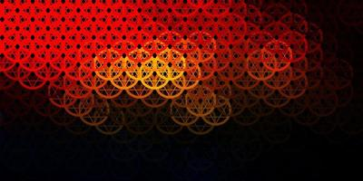 Dark Orange vector background with occult symbols.