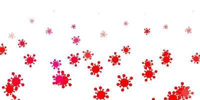 plantilla de vector rosa claro, rojo con signos de gripe.