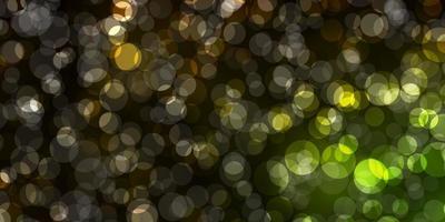 plantilla de vector verde oscuro, amarillo con círculos.