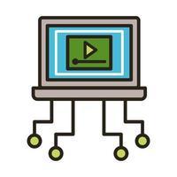 reproductor multimedia en laptop vector