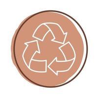 recycle arrows block style icon vector