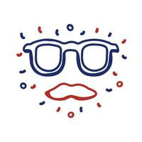 glasses and mustache hipster line style vector