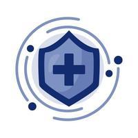 símbolo de cruz médica en icono de escudo