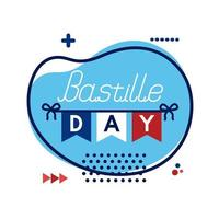 Bastille day lettering flat style