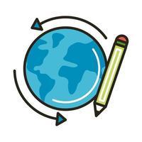 Planeta mundial con línea de lápiz y estilo de relleno.