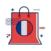 bolsa de compras con bandera de francia estilo plano