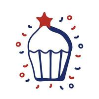 USA cupcake with star for 4th of July line style vector illustration design