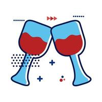 icono de estilo plano de copas de vino