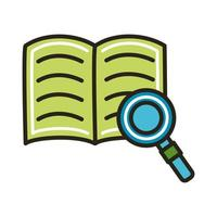 libro electrónico con línea de educación en línea de lupa y estilo de relleno vector