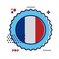 ribbon with France flag flat style icon
