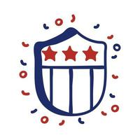 shield with USA flag line style vector illustration design