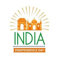 Independence day India celebration with flat style icon