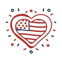 heart with USA flag line style