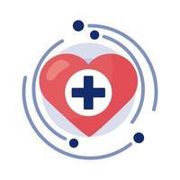 cruz médica con el símbolo del corazón