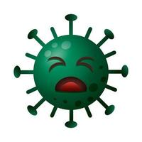 covid19 particle sad emoticon character vector