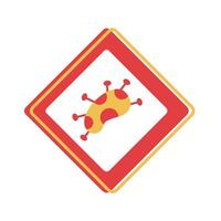 covid 19 particle caution sign