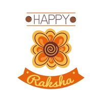 Happy Raksha Bandhan Celebration With Flower Decoration Flat Style vector