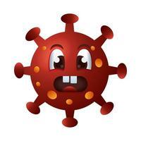 covid19 partícula emoticon enojado personaje vector