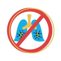 lungs with covid 19 particles in denied sign flat style