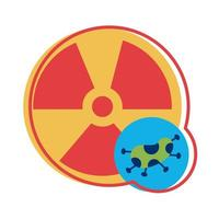 nuclear symbol with covid 19 particle flat style