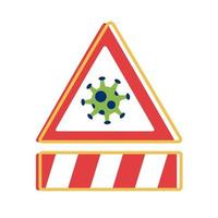 covid 19 particle caution signal and bar flat style icon