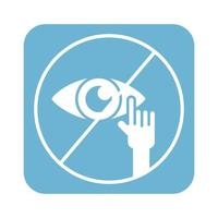 don't touch eyes line style icon vector