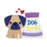 little dog pug with food canine cartoon pets vector