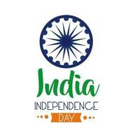 Independece Day India Celebration With Ashoka Chakra Flat Style Icon vector