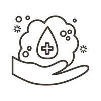 icono de estilo de línea de lavado de manos vector