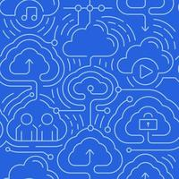 Cloud computing seamless background vector