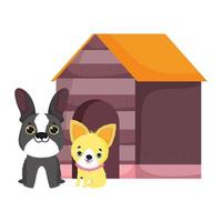 dogs sitting front wooden house canine cartoon pets vector