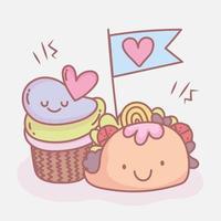 taco and sweet cupcake menu restaurant food cute vector