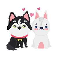 adorable puppy and white dog sitting cartoon pets