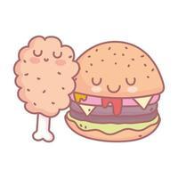 hamburguesa pollo pierna personaje menú restaurante comida dibujos animados vector