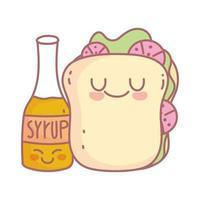 sandwich and syrup menu restaurant cartoon food cute