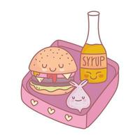 burger syrup and lunch menu restaurant food cute vector