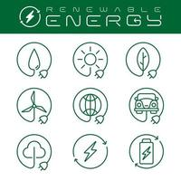 Renewable energy icons set with an editable stroke, vector
