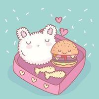 rice hamburger fishes menu restaurant food cute vector