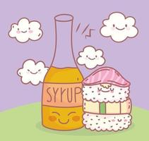 sushi and syrup menu restaurant food cute vector