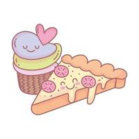 pizza and sweet cupcake dessert menu restaurant food cute vector