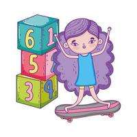 happy childrens day, little girl in with slide and park vector