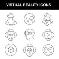 Virtual reality icons set with an editable stroke vector
