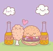 burger chicken syrup menu restaurant food cartoon