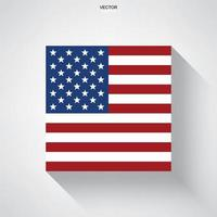 American flag with long shadow effect on white background. Vector. vector