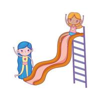 feliz día del niño, chicas lindas jugando en el parque infantil de diapositivas vector